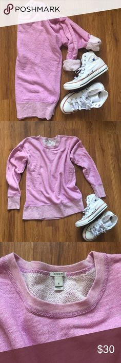 J. Crew •Crew Neck Sweater• J. Crew, crew neck sweater/ sweatshirt.  Beautiful lavender color, soft terry inside. Long sleeve, or can be rolled  •Size S •Slight Oversized fit •excellent condition J. Crew Sweaters