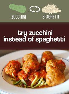 "Peel zucchini into ribbons to make healthy veggie ""spaghetti."" | 27 Easy Ways To Eat Healthier"