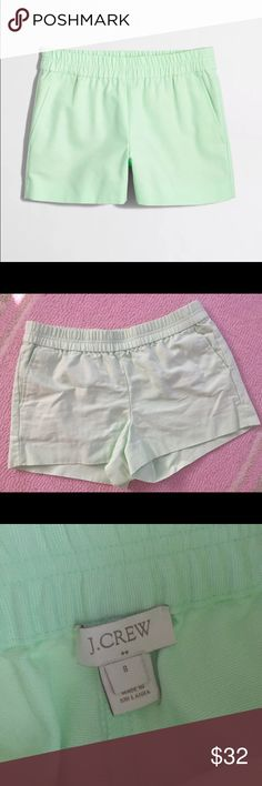 J. Crew Boardwalk Shorts NWOT.  Tried on & realized they're a bit too big.  3 inch inseam & 16 inch waist unstretched.  Cover shot is the true color! Super cute color for Summer, bummed they don't fit me! J. Crew Shorts