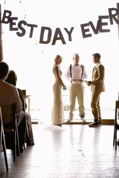 40 Awesome Signs You'll Want At Your Wedding |   A good message is a telltale sign it's going to be a great day.
