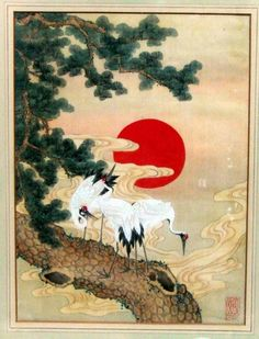Antique Japanese Meiji Silk Painting Cranes Signed.