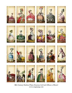 Marie Antoinette era 1700's French Revolution fashion plates