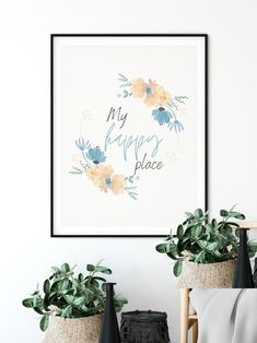 My happy place print Happy place wall art Home Decor wall image 0 Personalised Family Print, Personalized Family Gifts, Minimalist House Design, Inspirational Wall Art, Custom Wall, Home Decor Wall Art, My Happy Place, Kids Decor, Printable Wall Art