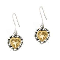 Glitzy Rocks Sterling Silver Citrine Heart Earrings
