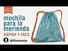 Tutorial: Mochila para la merienda muy sencilla - ACADEMIA ASUN DOMÍNGUEZ - YouTube Mochila Tutorial, Fabric Bags, Small Bags, Sewing Tutorials, Fabric Crafts, Drawstring Backpack, Diy And Crafts, Pouch, Backpacks