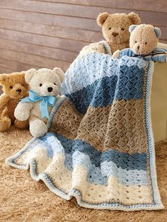 12 adorable quick-to-finish throws for boys and girls!   Designer Karen McKenna has created 12 precious baby afghans that can be completed in a weekend or less! Ripples, in-the-round, and all over stitch patterns are included in the collection and ar...