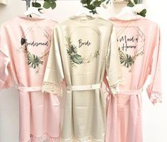 Bridesmaid Robes, Bridesmaids, Champagne Wedding Themes, Satin Dressing Gown, Beautiful Gowns, Wedding Bride, Bridal, Wedding Things, Lace