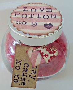 Homemade Valentines Day Gifts in a Jar - Love Potion in a Jar - DIY Valentines Day Ideas