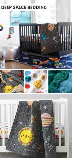 Our Deep Space Crib Bedding might not be the center of the universe. But it can be the center of your nursery. Perfect for any boy's or girl's crib, this set is topped with cheerful planets and stars.