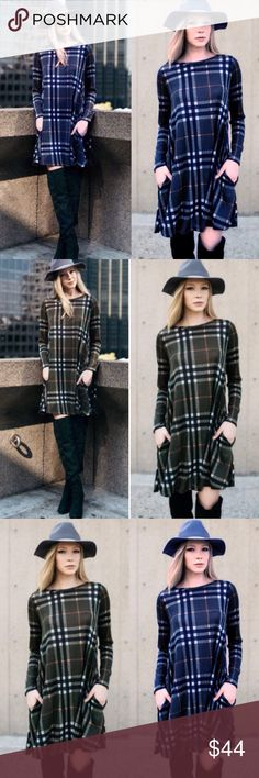 """❣️RESTOCK❣️ Plaid Shift Dress in Olive or Blue Super cute fall dress! The plaid is so beautiful! Slightly sheer. Sizes S (0-4) M (6-8) L (10-12) XL (12-14). Brand new! Available in Olive and Blue, limited supply, grab before it's gone! About 35"""" Dresses Mini"""