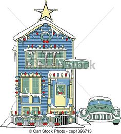 485 60s Unused Pink Houses Vintage Diecut Christmas Greeting Card