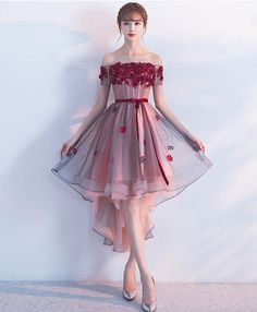 Burgundy Homecoming Dress Sash Off The Shoulder Lace Applique A Line Tulle Party. - Burgundy Homecoming Dress Sash Off The Shoulder Lace Applique A Line Tulle Party Dresses Short Slee - Burgundy Homecoming Dresses, High Low Prom Dresses, Trendy Dresses, Sexy Dresses, Cute Dresses, Beautiful Dresses, Dress Outfits, Evening Dresses, Fashion Dresses