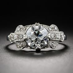 Perfect! 1.56 Carat GIA - G VS2 Diamond Art Deco Engagement Ring - 10-1-6456 - Lang Antiques