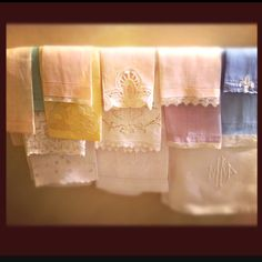Old-fashioned linen hand towels used in a guest bathroom - my grandmother's house :)