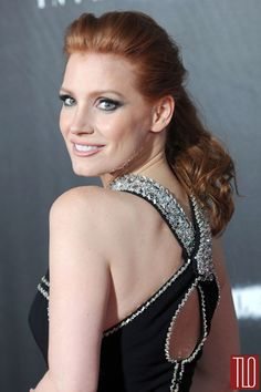 """Jessica Chastain attends the premiere of """"Interstellar"""" at AMC Lincoln Square Theater in New York City in a Prada dress"""