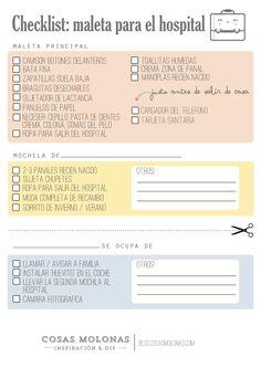 Imprimible gratuito: Lista de cosas que llevar al hospital cuando vas a dar a luz en blog.cosasmolonas.com