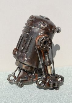 Hand Made R2D2 7 Inches Recycled Scrap Metal by ScrapSculptures