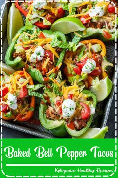 Take taco night to the next level with these Baked Bell Pepper Tacos! With instructions for vegan, vegetarian, and paleo options, these peppers are ready to transform your typical taco fare with a clean-eating twist! Paleo Recipes, Mexican Food Recipes, Low Carb Recipes, Cooking Recipes, Easy Recipes, Snack Recipes, Clean Eating Recipes For Dinner, Dinner Recipes, Meal Prep