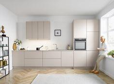 Cashmere modern kitchen with gorgeous floor Minimal Kitchen Design, Kitchen Room Design, Studio Kitchen, Living Room Kitchen, French Kitchen Decor, Home Decor Kitchen, Kitchen Interior, Home Kitchens, Layout Design