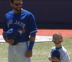 Joey Bats with a mini-Joey fan. Blue Jay Way, Baseball Pictures, Toronto Blue Jays, Raptors, Polo Ralph Lauren, Curling, Bats, Random Stuff, Mens Tops