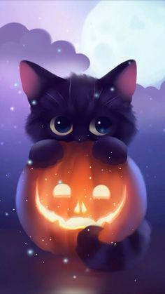 Image of the cat, Halloween and kawaii - Things I like ❤ - # of . - Image of the cat, Halloween and kawaii – Things I like ❤ – - Cute Animal Drawings, Kawaii Drawings, Drawings Of Cats, Drawing Animals, Cat Background, Anime Animals, Halloween Backgrounds, Animal Wallpaper, Wallpaper Pictures
