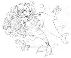 Mermaid and Dolphin ::Lineart Comm Sketch:: by YamPuff on DeviantArt