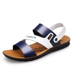 High Quality Men's Sandals Summer Anti-skid Leisure Beach Flat Sandals Outdoor Slip-on Leather Shoes for Male Soft Bottom-Touchy High-Quality Men's Sandals Summer Anti-skid Leisure Beach Flat Sandals Outdoor Slip-on Leather Shoes for Male Soft Bottom. Mens Dress Sandals, Men Sandals, Flat Sandals, Mens Beach Shoes, Simple Sandals, Vans, Everyday Shoes, Adidas, Cute Shoes