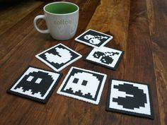 Perler Beads - PacMan Coasters by sharonlin on DeviantArt Melty Bead Patterns, Perler Patterns, Beading Patterns, Diy Perler Beads, Pearler Beads, Plastic Canvas Coasters, Plastic Canvas Patterns, Pac Man, Geek Perler
