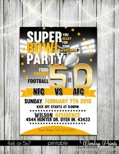 Printable Super Bowl 50 Football Party Invitation