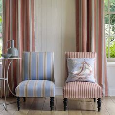 Porlock Stripe, Selworth Stripe & Spinnaker fabrics by Jane Churchill Striped Chair, Striped Curtains, Nantucket, Les Hamptons, Cozy Living Spaces, Houses In France, Nautical Home, Nautical Stripes, Cottage Style Homes