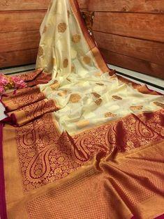 Off White & Deep Hot Pink Color Kora Silk Banarasi Saree