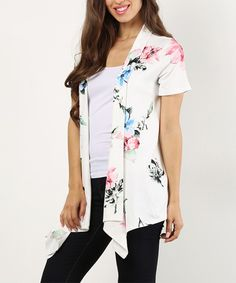 Take a look at this White Floral Open Cardigan today!