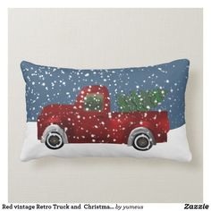 Red vintage Retro Truck and Christmas Tree Lumbar Pillow Christmas decor indoor Christmas throw pillows. Diy Pillows, Custom Pillows, Throw Pillows, Cushions, Retro Christmas Decorations, Christmas Themes, Christmas Design, Red Christmas, Christmas Gifts
