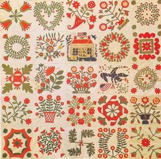 Baltimore Album Quilt, 1840. Maryland.  Depicts the 1840 campaign of William Henry Harrison and John Tyler.