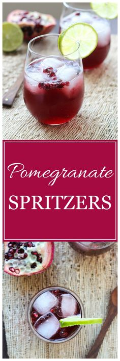 Pomegranate Spritzers- a festive holiday drink that can be made with champagne or tonic for a non-alcoholic option!