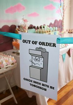 Super Cute Wreck It Ralph Party by Imagine Event Styling Sugar Rush dessert table at our Wreck It Ralph party. Out of Order sign from the movie looking super cute, stopping everyone from devouring the sweets too soon! Candy Theme Birthday Party, Candy Party, 3rd Birthday Parties, I Party, Boy Birthday, Party Time, Birthday Ideas, Party Ideas, Out Of Order Sign