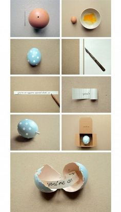 How to send a cute message in an egg step by step DIY tutorial instructions / How To Instructions
