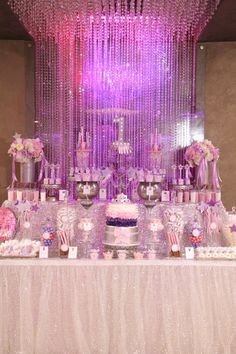 First Birthday Princess Party Dessert Table With Shine And Shimmer Purple Pink Desserts
