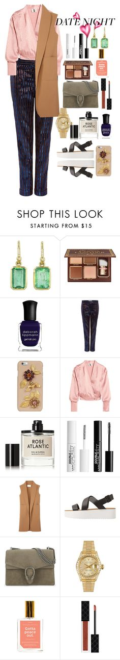 """""""Date Night Style"""" by annasokolove ❤ liked on Polyvore featuring Irene Neuwirth, Too Faced Cosmetics, Deborah Lippmann, Carven, Dolce&Gabbana, Topshop Unique, D.S. & DURGA, Charlotte Russe, Alexander Wang and MANGO"""