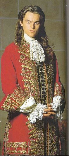 the man in the iron mask' leonardo dicaprios red costume with gold edging designed by james acheson'