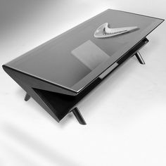 John Keal; Lacquered Wood and Glass Coffee Table with Book Display for Brown Saltman, 1950s