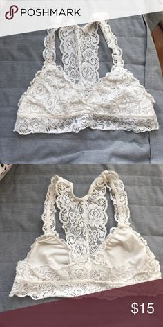 Francesca's white bralette Cute lacey racer back bralette. Size medium purchased at Francesca's Francesca's Collections Intimates & Sleepwear Bandeaus