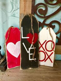 Wooden tags. Reversible Valentines/St. Pat's tags.
