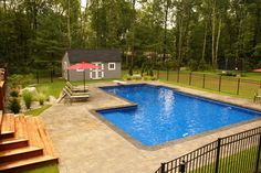 The wide variety of geometric pool designs offer homeowners a wide array of options. Similar to the rectangle pool, geometric pool designs are classic, elegant, timeless Inground Pool Designs, Swimming Pool Designs, Pools Inground, Backyard Pool Landscaping, Backyard Pool Designs, Landscaping Ideas, Geometric Pool, Geometric Shapes, Rectangle Pool