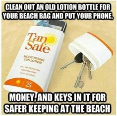 Sunscreen bottle for storing things at beach