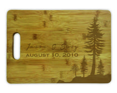 Cutting Board w/ Handle - Evergreen trees personalized