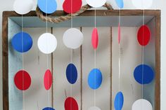 Patriotic 4th July Red, White, Blue 12 ft Circle Paper Garland- Wedding, Birthday, Bridal Shower, Baby Shower, Party Decorations