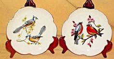 BIRD PLATE LEGO JAPAN SET 2 GOLD TRIM BLUE JAY ROBIN WITH HANGERS PAIR DECOR