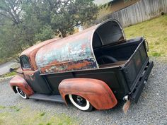 1947-1950 Ford F-2 jalopy daily driver on wide white wall tires, a faux patina paint job and a super cool bed shell. Pic 1