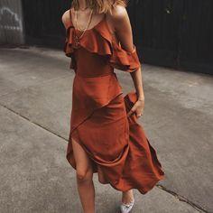 a ruffle slip dress